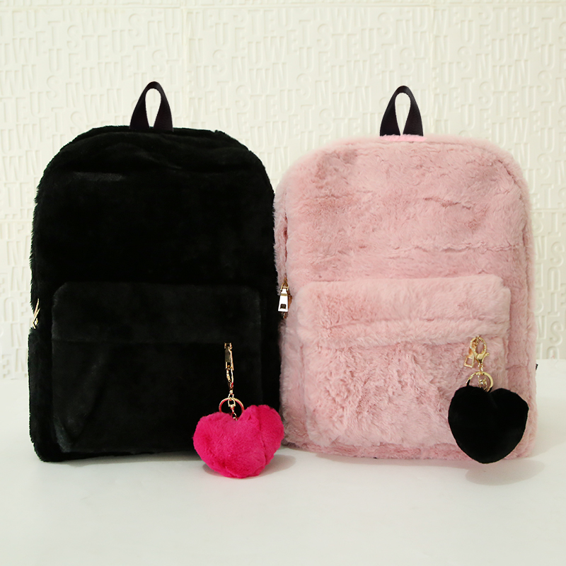 Moon Wood Faux Fur Rucksack - Pink, White or Black 1