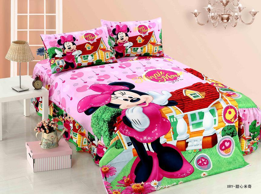 new minnie mouse cartoon bedding sets girls kids bedroom decor single twin size bed sheets quilt