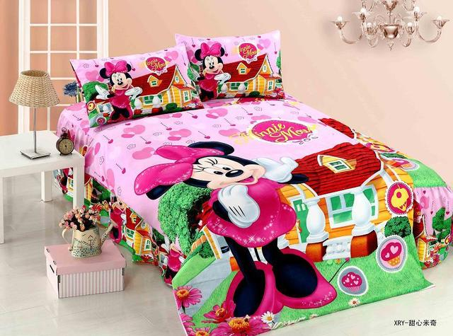 Etonnant New Minnie Mouse Cartoon Bedding Sets Girls Kids Bedroom Decor Single Twin  Size Bed Sheets Quilt