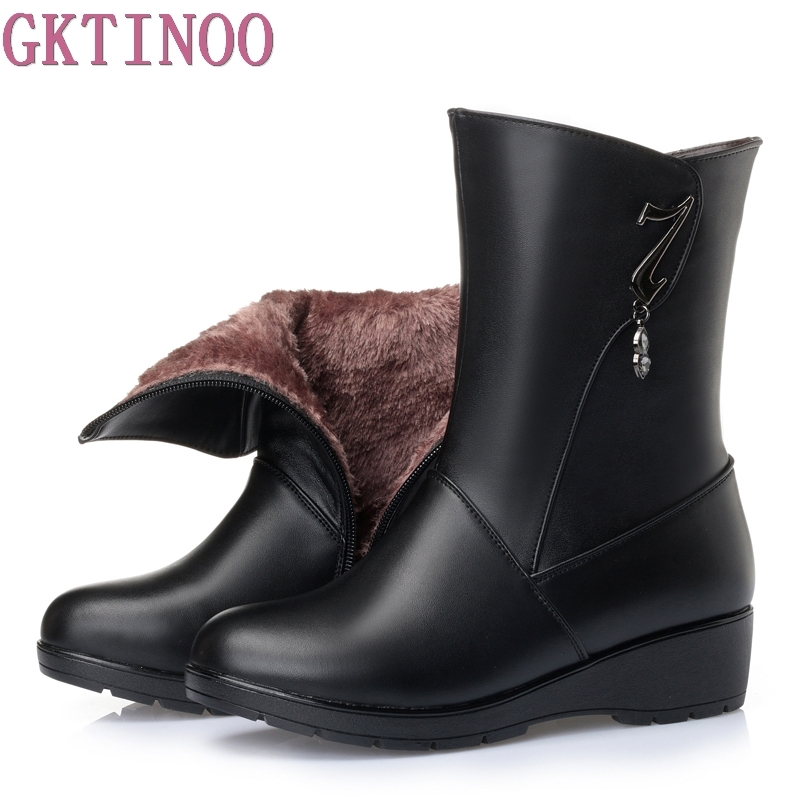 Fashion 2017 Autumn Winter Women Boots Genuine Leather Shoes Women Mid calf Boots Warm Casual Snow Boots double buckle cross straps mid calf boots