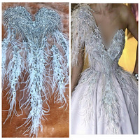hand made sew on silver Rhinestones applique on mesh trim patches ivory Ostrich feather 64*35cm wedding dress accessory