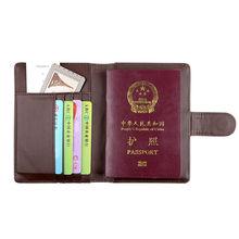 ONLVAN Travel Passport Holder Women Men Brown Leather Cover ID Card Bag Passport Wallet Protective Sleeve Passport Cover