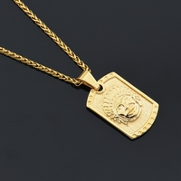 MCSAYS Hip Hop Jewelry Indian Head Square Card Gold Sliver Color Pendant Link Chain Necklace For