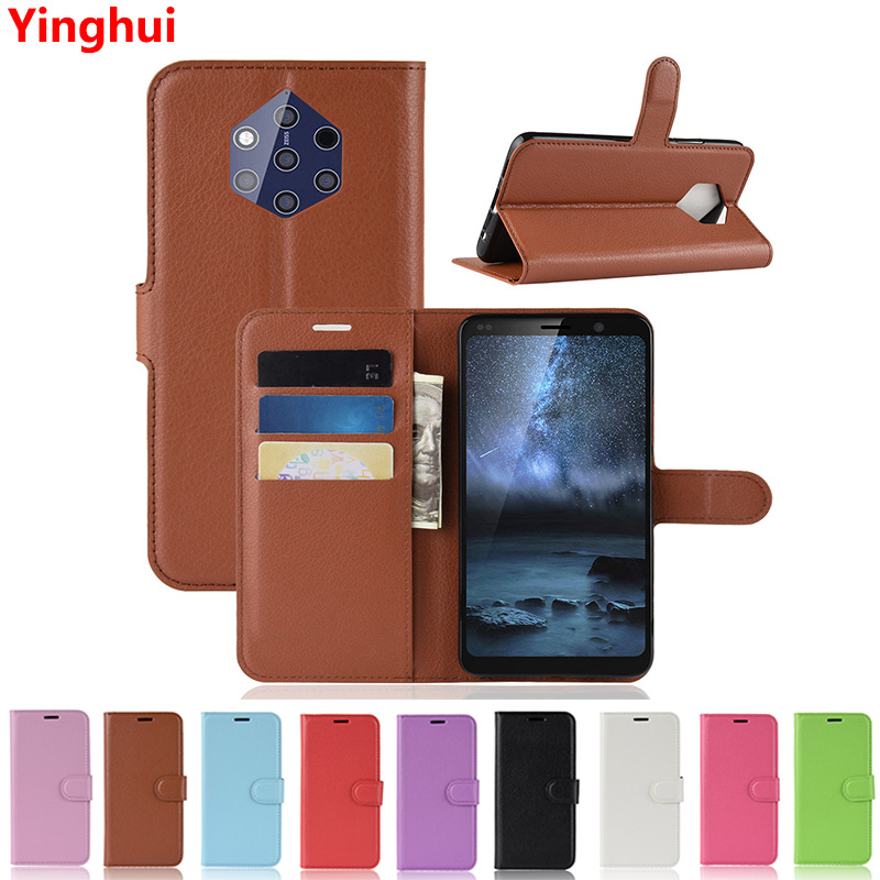 For Nokia 9 PureView 5.99 Book Style Flip Wallet Leather Card Holder Case for Nokia 9 Pureview Full Protective Stand Cover Case