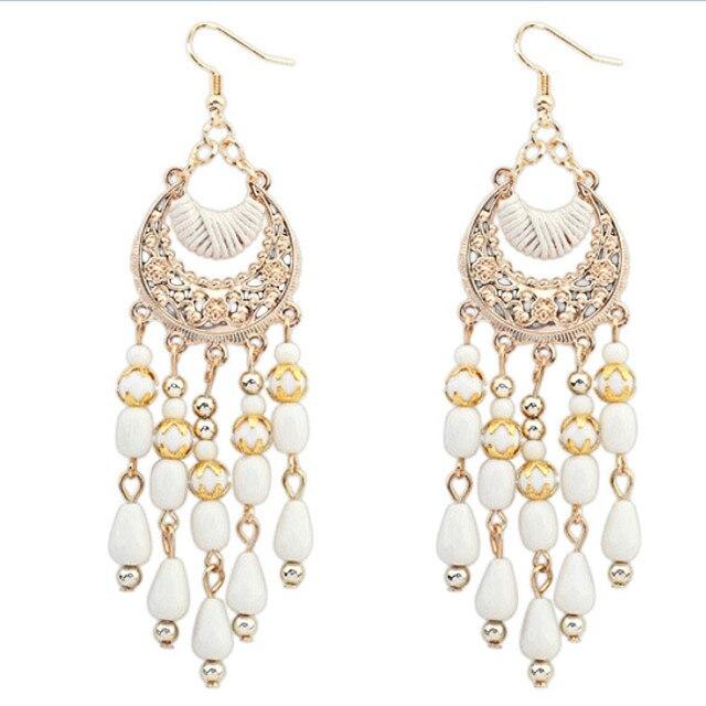 saatleri 2017 Hot Sale female Earrings Women's Bohemian Fringed Long Section Of Big Beads Pendant Earrings