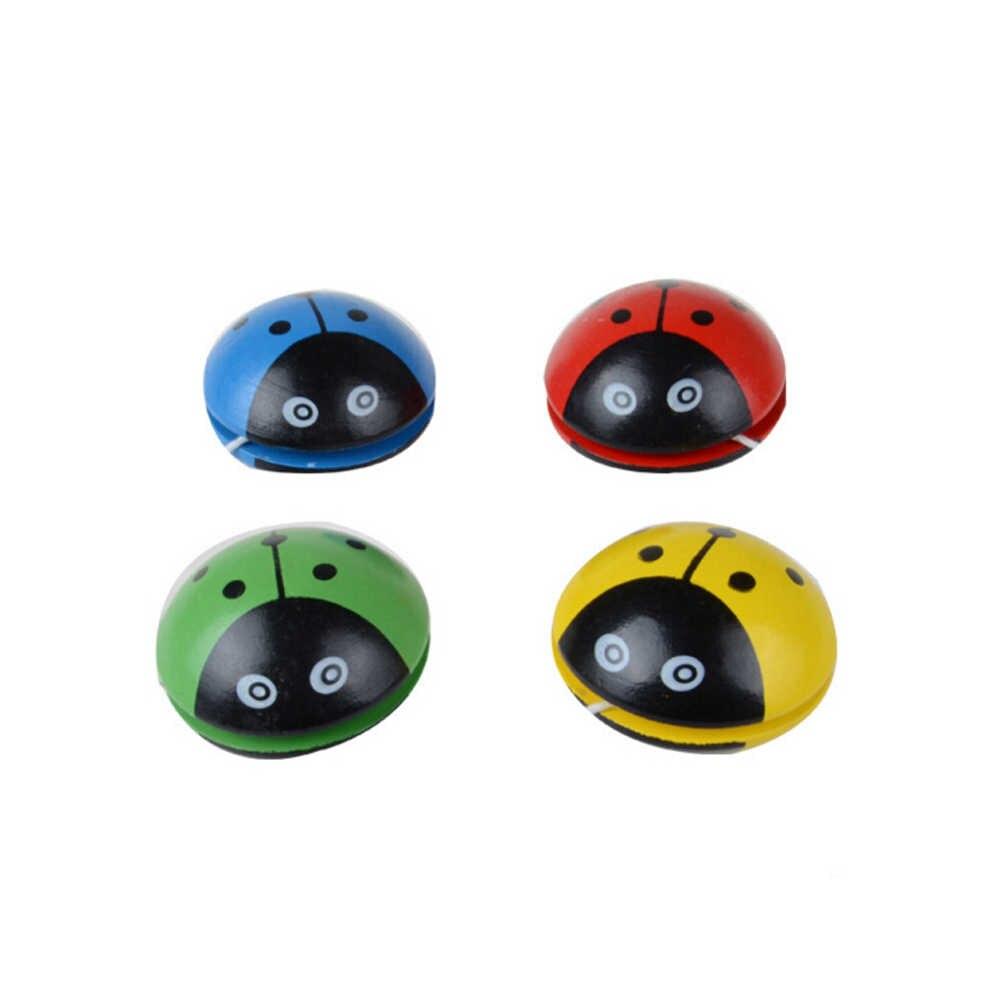 Lote de 1 unidad de divertidas bolas de mariquita de cuatro colores, yo-yo, azul, verde, rojo, amarillo, mariquita, YOYO de madera, juguetes para niños