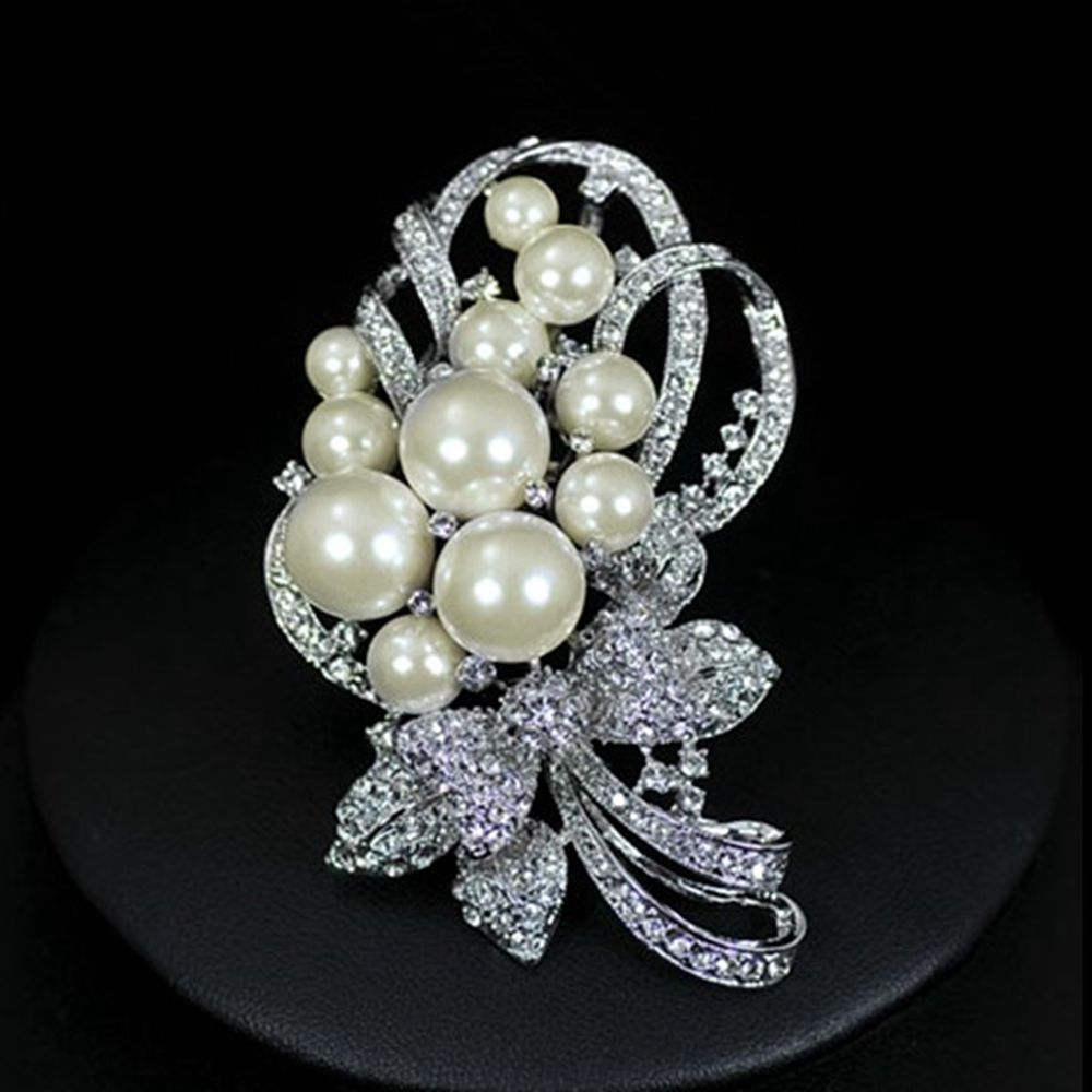 """6 Crystal Pearl Photo Picture Frame Diamond Bowknot: 3"""" Rhodium Silver Plated ImitationCream Pearl Bunch Flower"""