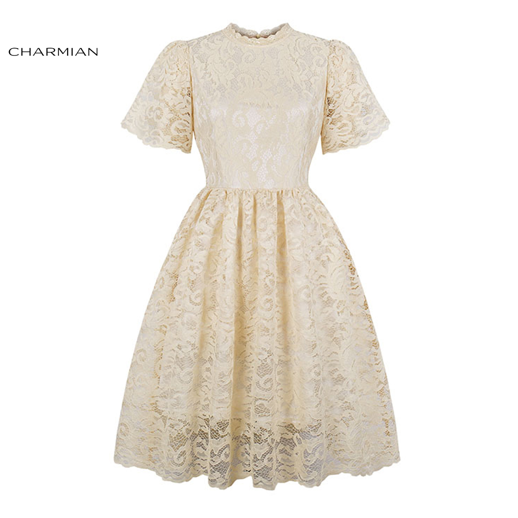 Charmian Women's Floral Lace Vintage Midi Dress Elegant Wedding Party Dress High Waist A line Casual Dress Vestidos