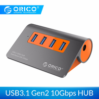 ORICO 4 Ports USB 3.1 10Gbps Data Transmission USB Splitter USB HUB with Power Adapter for laptop accessories with 1m data cable