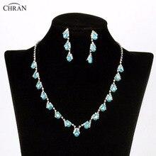 Chran Sky Blue Rhinestone Crystal Necklace Earrings Bridal Jewellery Sets Wedding Accessories Jewelry For Women Gifts CRJS194
