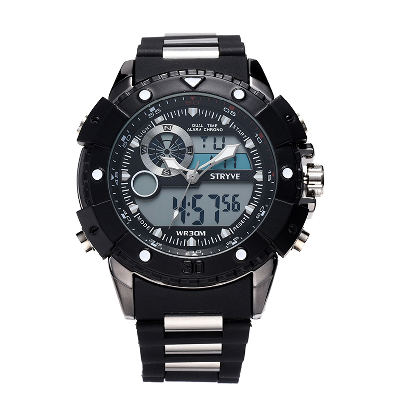 STRYVE 2019 Man Watch Silicon Army Military Sport Watch Waterproof Male Sport Stop Watch Week Alarm LED Back Light Military GMT