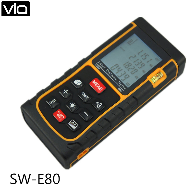 SW-E80 Free Shipping Laser Range Finder 80M LCD Display Laser Distance Meter Digital Range Finder Laser Tape Measure