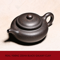 Chinese real yixing zisha black galaxy clay tea pot 180cc antique style pot of tea marked master teapot ball shaped infuse holes