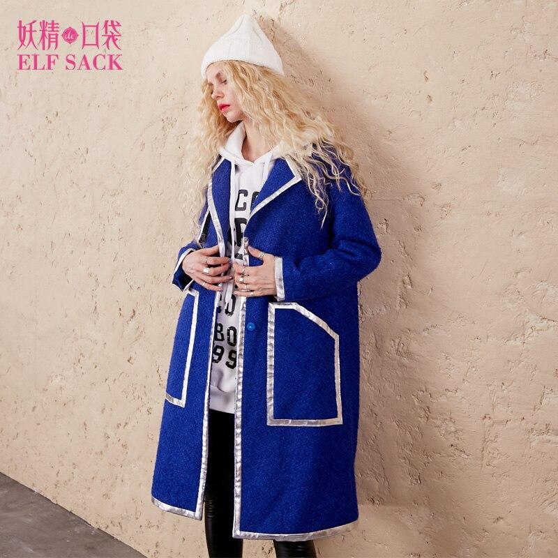 ELF SACK 18% Laine Manteaux D'hiver Femmes Couleur Contraste Long Survêtement Femmes Métal Couleur Artificielle En Cuir Bord Street Wear Manteaux