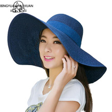 BINGYUANHAOXUAN UV Protect Hat Lady Summer Wide Along Bow Visor Sun Beach Straw Mujer Cap Candy Colored Hats for Women