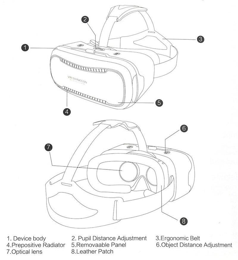 VR Shinecon 2.0 Google Cardboard VR BOX 2.0 Virtual Reality goggles VR 3D Glasses Immersive for 4.5-6.0 inch smartphones 18