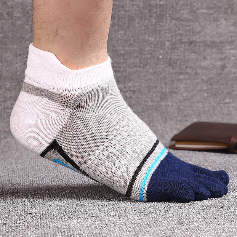 5 Pairs/lot Men Cotton High Quality Socks Cozy Soft Elastic Striped Five Finger Socks Summer Mesh Male Dress Socks with Toes