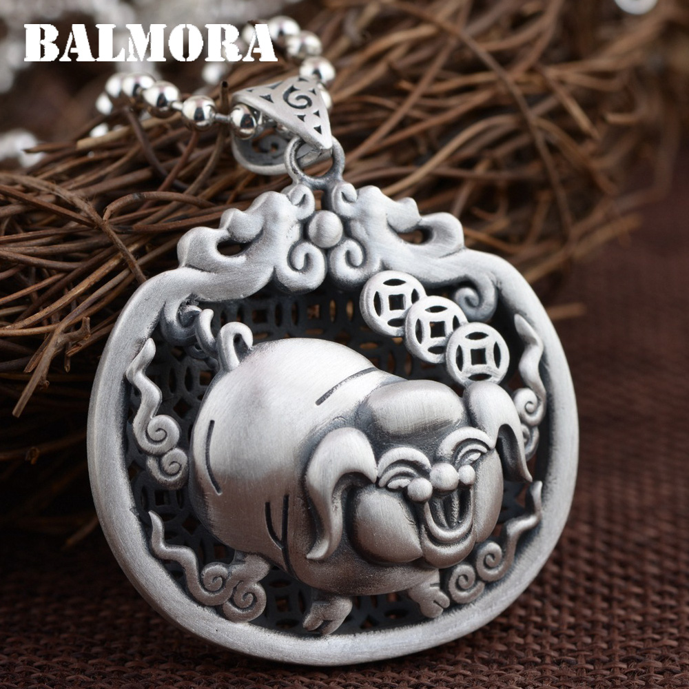 BALMORA 990 Pure Silver Blessed Pig Hollow Pendants for Women Men Vintage Thai Silver Jewelry Animal Accessories Gift SY13814BALMORA 990 Pure Silver Blessed Pig Hollow Pendants for Women Men Vintage Thai Silver Jewelry Animal Accessories Gift SY13814