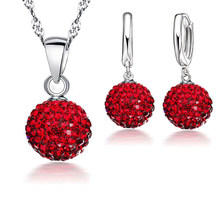Austrian Crystal Pendant Necklace Dangle Earrings Elegant 925 Sterling Silver Disco Ball lWedding Jewelry Sets For Brides(China)