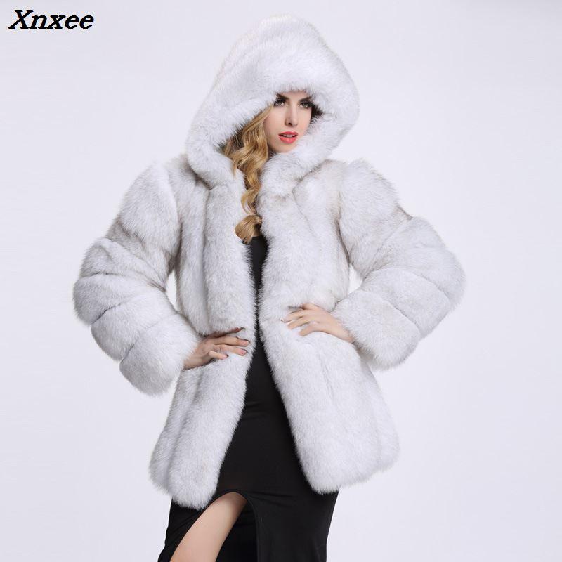 Xnxee elegancki długi Faux Fur Coat puszyste kurtka 2018 zimowa kobiety grube ciepłe Faux futro płaszcze z kapturem biały czarny plus rozmiar w Sztuczne futro od Odzież damska na  Grupa 1