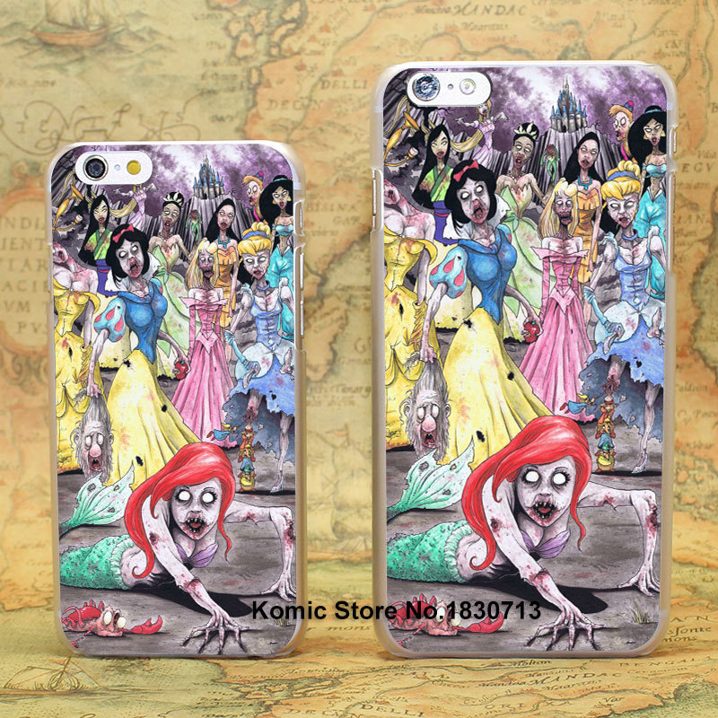 Zombie Princesses Ariel Snow Design hard transparent clear Skin Cover Case for iPhone 6 6s 6 Plus