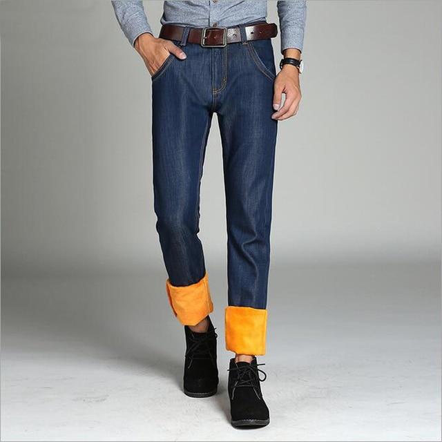 Para hombre Invierno Fleece Pantalones de Franela Forrado Stretch Denim Jeans Slim Fit pantalones Pantalones 33 34 35 36 38 40 Apto para 10 centígrados