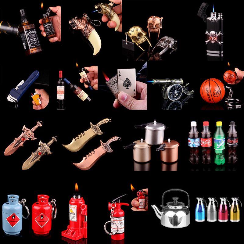 Mini Creative Butane Lighter Wrench Can Basketball Hammer Fire Extinguisher Cannon Pressure-cooker Model Fire Starter new