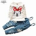 Novas crianças outono conjuntos de Minnie t-shirt e macacão jeans conjunto de roupas menina crianças crianças de vestuário roupas para o bebê