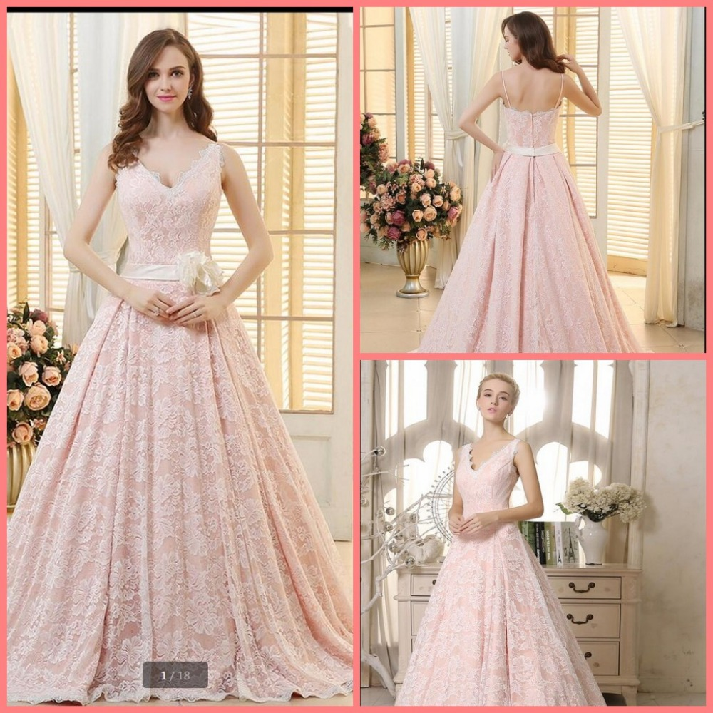 2016 New Design Ball Gown Pink Lace Stylish Prom Dress Court Train Princess Puffy Long Prom Gowns Court Train Prom Dresses