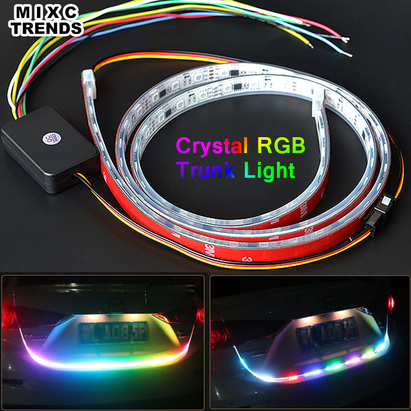 MIXC TRNEDS New 120CM Crystal Silica Sleeve 5050 RGB Led Strip Car Rear Tail Trunk light Brake Turn Signal Reverse LED DRL Light