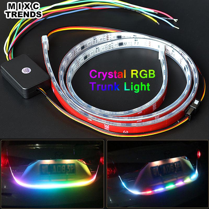 MIXCTRNEDS New 120CM Crystal Silica Sleeve 5050 RGB Led Strip Car Rear Tail Trunk Light Brake