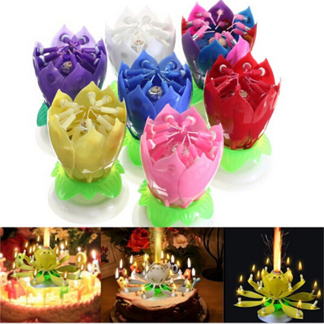 1PC Beautiful Blossom Lotus Flower Candle Birthday Party Cake Music Sparkle Topper Rotating Candles Decoration