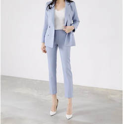 Пользовательские мода новый двубортный повседневные однотонные женские костюм из двух Костюм из нескольких предметов (куртка + Штаны)