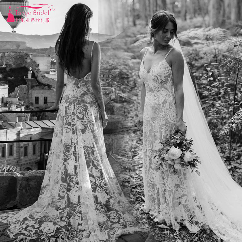 Simplicity Luxury Intrigue Wedding Dresses Stunning Contemporary Rose Pattern Embroidery Boho Bridal Gelinink nude lining ZW104