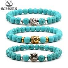 HOBBORN Trendy Chakra Men Bracelets Handmade 8mm Natural Stone Beads Buddha Head Owl Mix Strand Women Charm Bracelet Jewelry