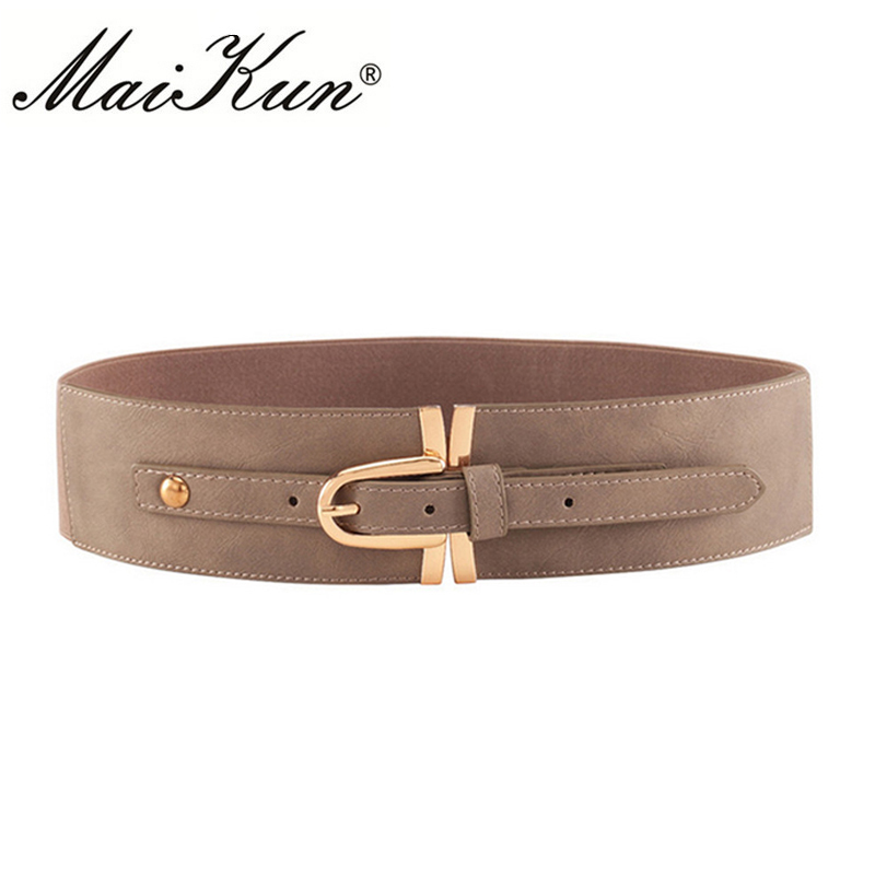 Casual Wide Dress Belts for Women High Fashion Elastic Genuine Leather Female Metal Cinch Luxury Strap Pin Buckle Waistband