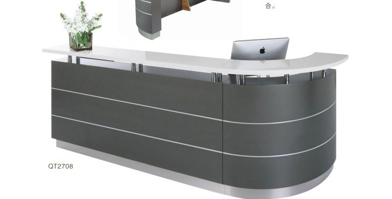 Hospital Dental Center Clinic Curved Marble Reception Desk Counter Qt2708b Summary Type Office Furniture