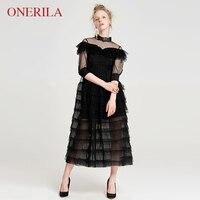 ONERILA 2018 новые осенние пикантные элегантные со стоячим воротником Черное кружево длинное платье для Для женщин вечерние пляжные свадебные ж