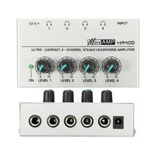В продаже 1 шт. HA400 ультра-компактный 4 канальный наушников аудио стерео усилитель Microamp адаптер для розеток европейского стандарта Mayitr