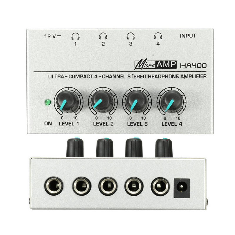 Onsale 1pc HA400 Ultra-Compact 4 Channel Headphone Audio Stereo Amp Microamp Amplifier EU Adapter Mayitr