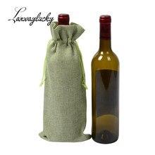 10pcs/lot 15x35cm Drawstring Gifts Bags Hessian Rustic Burlap Jute Wine Wedding Christmas Party Favors Bottle Pouches