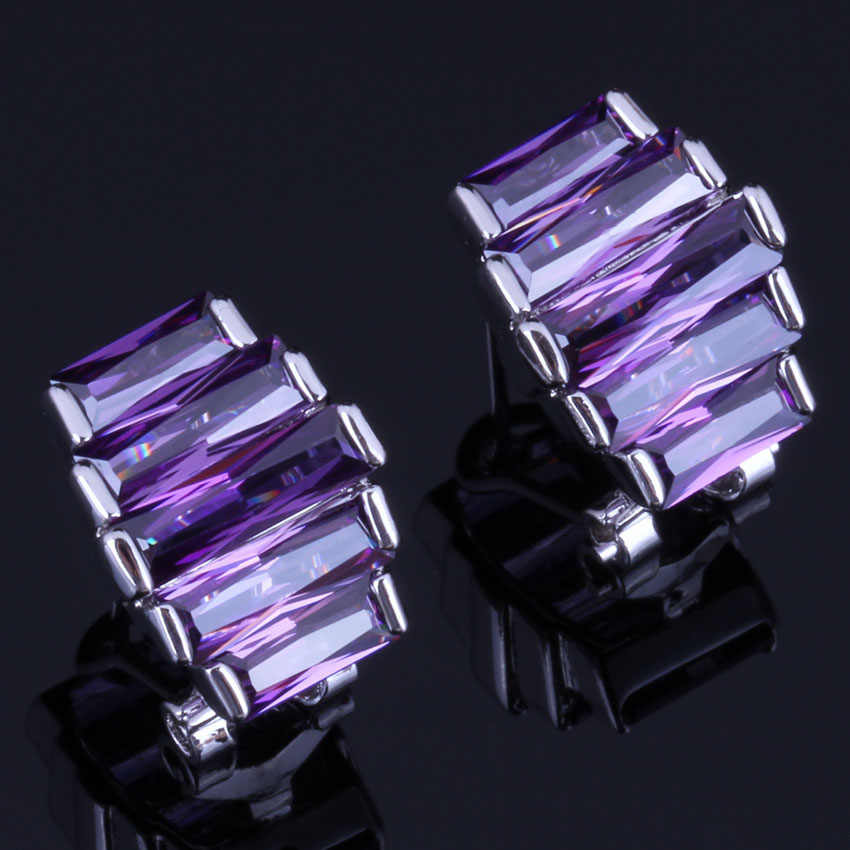 Awesome Purple Cubic Zirconia 925 Sterling Silver Clip Hoop Huggie Earrings For Women V0931