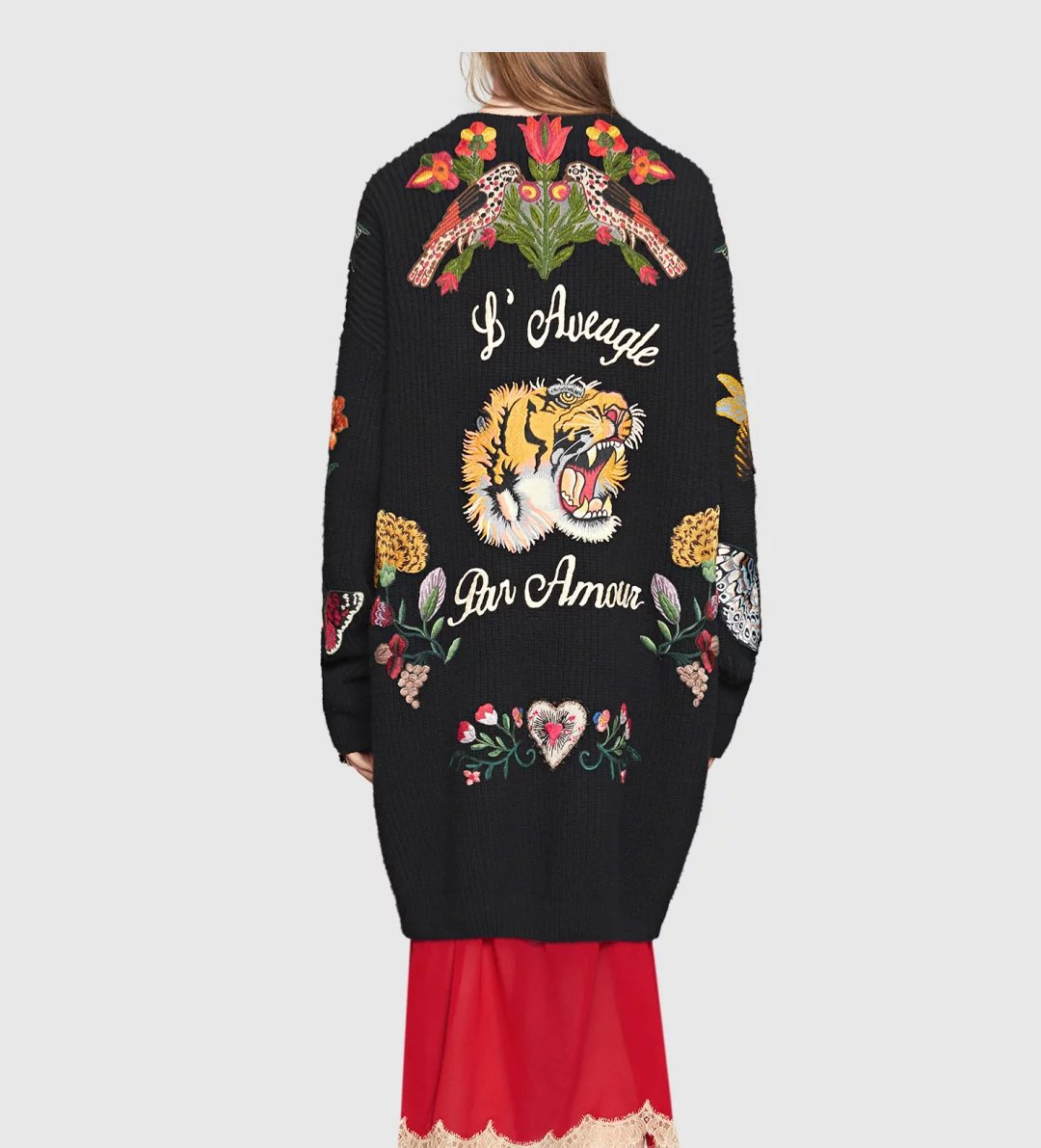 jacket Women Cardigans Vintage Tiger Embroidery Knitted Sweater Outwear Blouson Femme Big Size Long Casual Thicken