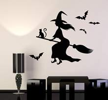 Vinyl Wall Decal Witch Black Magic Cat Besom Halloween Stickers Holiday Sticker Home DecorWSJ07