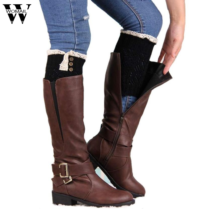 2017 stocks high quality Women Lace Stretch Boot Leg Cuffs Boot Socks Black 4 AUG8