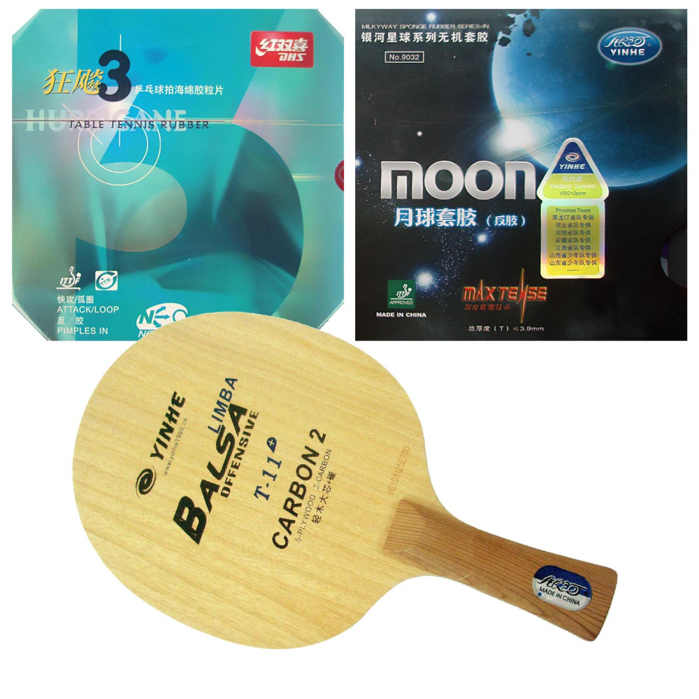 Galaxy YINHE T-11+ Blade with Moon (Factory Tuned)/ DHS NEO Hurricane 3 Rubbers for a Racket Shakehand long handle FL galaxy yinhe t 11 blade with moon factory tuned dhs neo hurricane 3 rubbers for a racket shakehand long handle fl