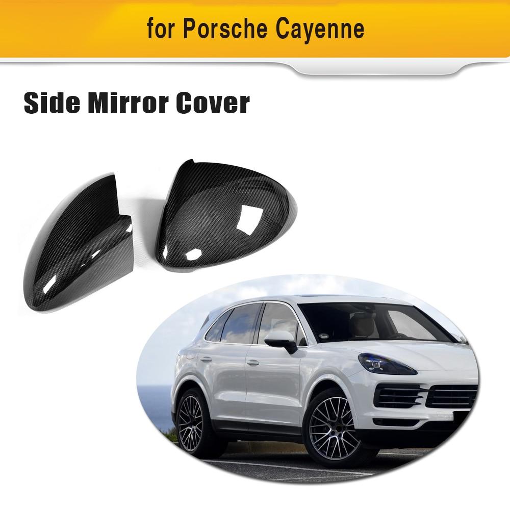 Carbon Fiber Car Rear Side Mirror Covers Trim Fender for Porsche Cayenne 2018 Add on Style