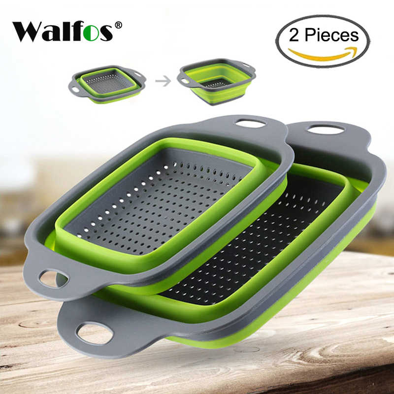 WALFOS 2pcs/set Foldable Strainer Basket Collapsible Colander Sets Square Shape Fruit Vegetable Washing Drainer Kitchen Baskets