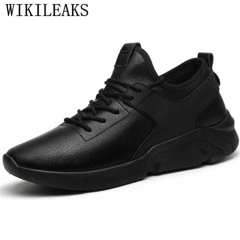 Zapatos informales de lujo para hombre, zapatillas de cuero negro, zapatos de diseñador para hombre, zapatillas de hombre de alta calidad, calzado para hombre