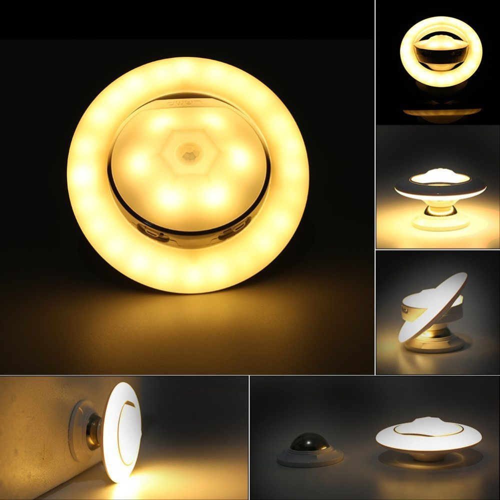 USB Rechargeable Motion Sensor Night Light LED Infrared Human Body Induction Lamp UFO Shaped 360 Degree Rotating Detachable Ma